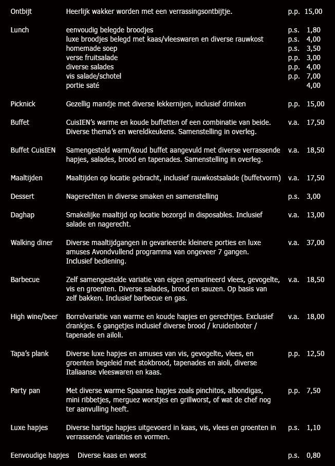 Prijslijst Cuisien Catering Wieringen